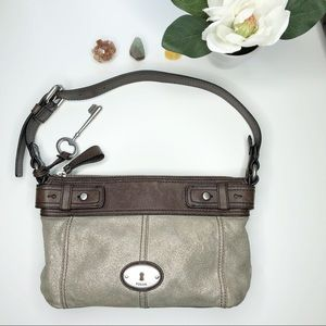 Fossil Maddox Brown and Gold Toned Leather Bag
